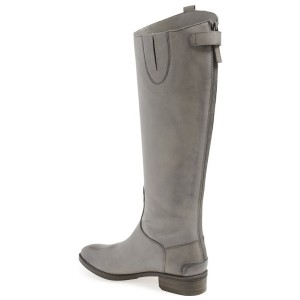 Dark Silver Fashion Boots Flat Knee-high Riding Boots