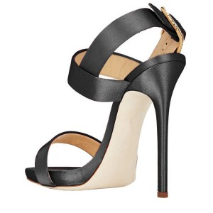 Black Office Sandals Satin 4 Inch Heels for Work