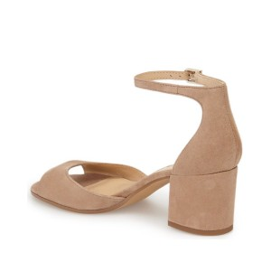 Women's Nude Soft Suede Ankle Strappy Sandals