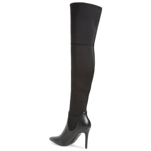 Leila Black Pointy Toe Stiletto Heel Over-The- Knee Boots