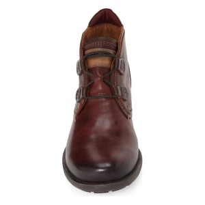 Maroon Lace-up Flat Vintage Boots