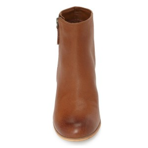 Women's Chunky Heel Vintage Tan Boots Round Toe Patent Leather Ankle Boots