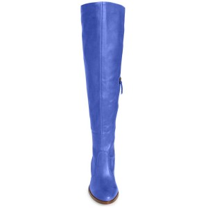 Cobalt Blue Shoes Block Heel Knee High Boots by FSJ