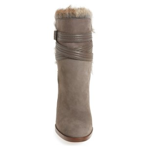 Light Brown Fur Boots Strappy Suede Chunky Heel Boots for Winter