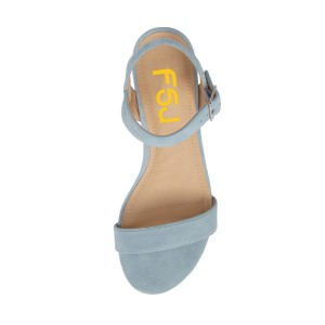 Light Blue Summer Sandals Suede Comfortable Flats for Girls
