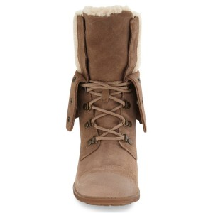 Light Brown Winter Boots Fold-Over Round Toe Lace up Vintage Boots