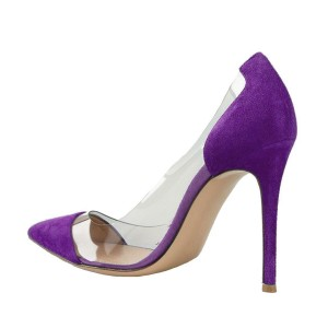 Purple Clear Heels Pointy Toe Stiletto Heels Suede Pumps