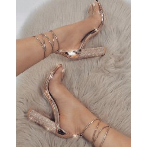 Custom Made Rose Gold Sparkly Chunky Heel Strappy Sandals