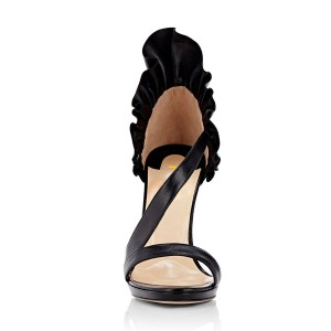 Women's Black Stiletto Heels Commuting Strappy Open Toe Sandals