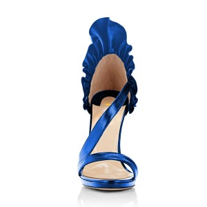 Women's Blue Stiletto Heels Commuting Strappy Open Toe Sandals