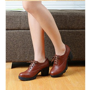 Women's Brown Lace Up  Round Toe Vintage Shoes