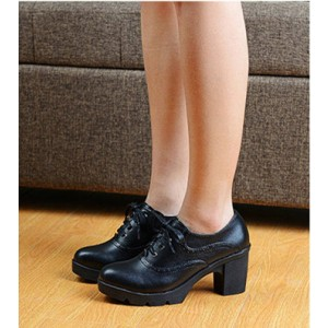 Women's Black  Round Toe Lace Up Chunky Heel Vintage Shoes