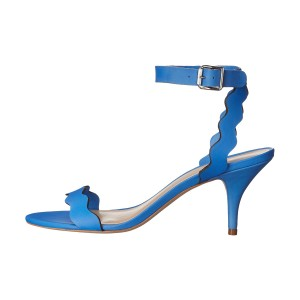 Women's Blue Ripple Stiletto Heel Ankle Strap Sandals