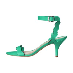 Women's Green Ripple Stiletto Heel Ankle Strap Sandals