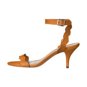 Women's Orange Ripple Kitten Heel Ankle Strap Sandals