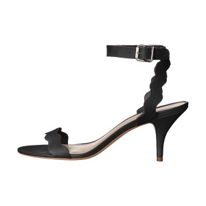 Women's Black Ripple Kitten Heel Ankle Strap Sandals