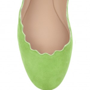 On Sale Lime Green Suede Ballet Flats Round Toe Comfortable Flats
