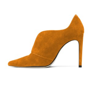 Fashion Mustard Stiletto Boots Suede Pointy Toe Heeled Ankle Booties