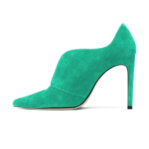 Green Stiletto Boots Suede Pointy Toe Heeled Booties for Women