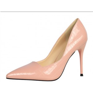Women's Pink Classic Pointy Toe Commuting Stiletto Heel Pumps