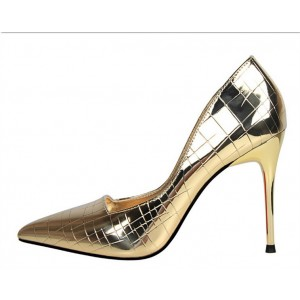 Gold Metallic Heels Pointy Toe Stiletto Heel Office Pumps