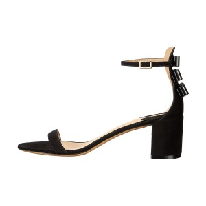 Women's Black Suede Chunky Heel Ankle Strap Sandals