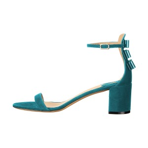 Women's Turquoise Suede Ankle Strap Sandals Chunky Heel Sandals