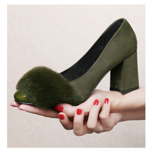 Dark Green Chunky Heels Fluffy Suede Pumps for Female