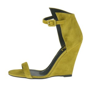 Women's Yellow Ankle Strap Wedge Sandals