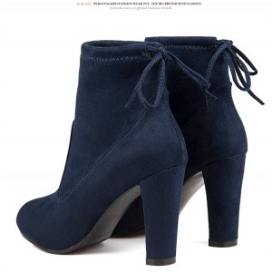 Navy Short Boots Suede Back Lace up Chunky Heel Ankle Booties