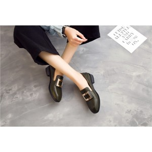 Women's Green Square Toe Commuting Vintage Comfortable Flats