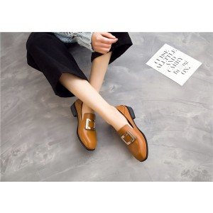 Tan Vintage Shoes Slip-on Loafers Comfortable Flats