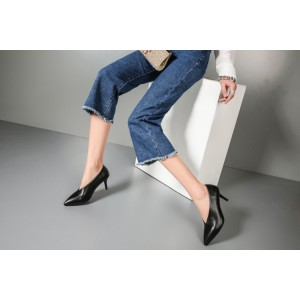 Women's Black Pointy Toe Low-cut Commuting Stiletto Vintage Heels