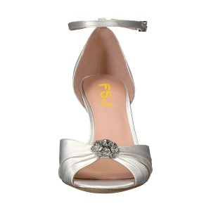 White Peep Toe Ankle Strap Rhinestone Stiletto Heel Pumps Bridal Heels