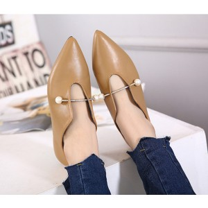 Women's Khaki Pointed Toe Elegant Vintage Comfortable Flats
