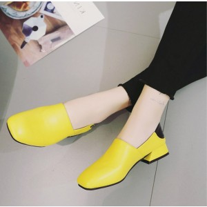 Women's Yellow Square Toe Chunky  Commuting Vintage Heels