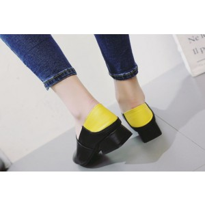 Women's Black Square Toe Commuting Vintage Comfortable Flats