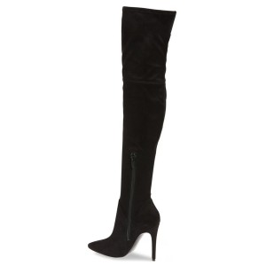 Leila Black Suede Over-The-Knee Stiletto Heel Boots