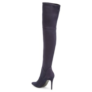 Dark Violet Suede Over-The-Knee Stiletto Heel Boots