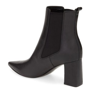 Leila Black Leather Work Ankle Boots