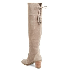 Women's Suede Light Grey Knee-high Boots Chunky Heel Boots by FSJ