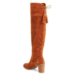 Tan Boots Suede Chunky Heel Knee High Boots