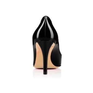 Leila Black Peep Toe Stiletto Heel Pumps