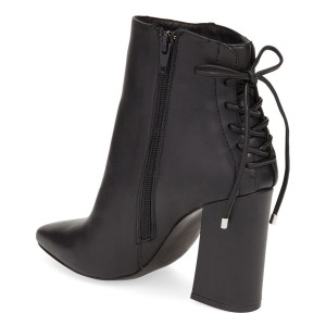 Black Chunky Heel Boots Pointy Toe Back Lace-up Ankle Booties