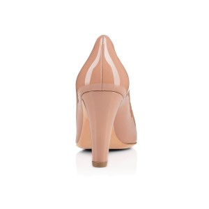 Blush Round Toe Patent Leather 3 Inch Pumps for Office Ladies