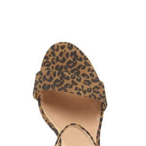 Women's Leopard Ankle Strap Open Toe Chunky Heel Sandals