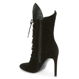 Women's Black Studs Lace-up Stiletto Lace Up Heels Boots