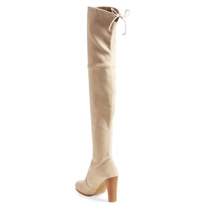 Beige Long Boots Suede Chunky Heel Thigh-high Boots
