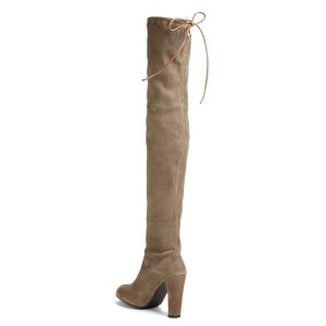 Khaki Chunky Heel Boots Round Toe Suede over-the-knee Boots
