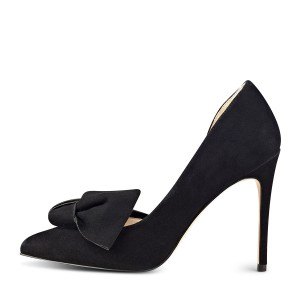Women's Black Elegant Bow Stiletto Heels Pumps Shoes